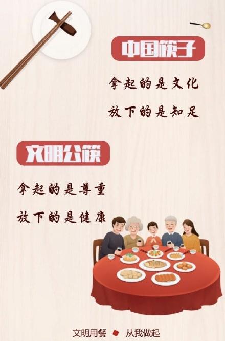 中国筷子 拿起的是文化 放下的是知足 文明公筷 拿起的是尊重 放下的是健康