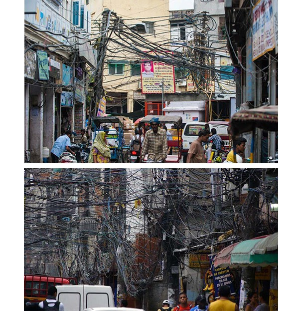 某国如蜘蛛网般的电缆线